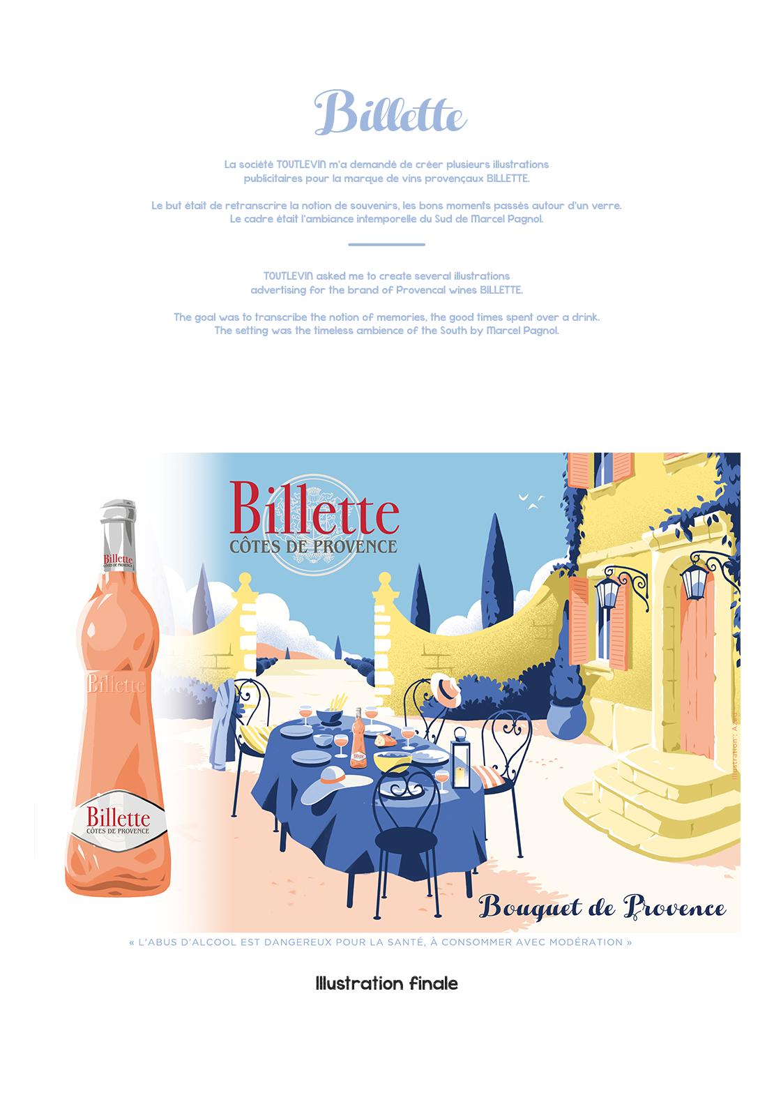Affiche illustrée pour la marque Billette